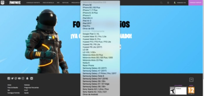 Fortnite Android lista