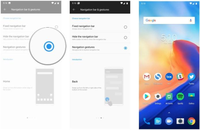 OnePlus 6 Android Oreo Google gestos de navegação