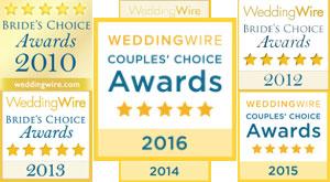 Wedding Wire Awards for 4RomanticWeddings.com, 4HarpMusic.com, and 4Vows.com 2010-2014