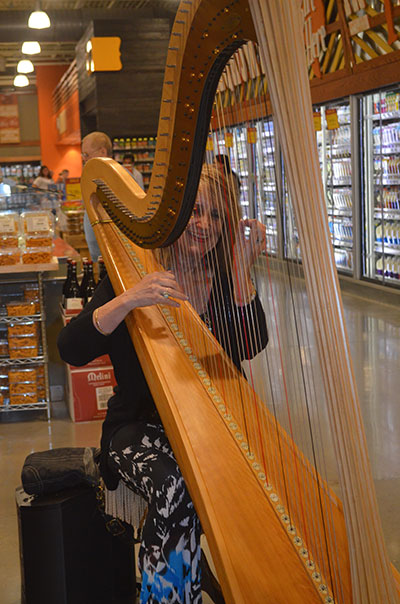Margaret Atkinson, Harpist - entertaining at Whole Foods