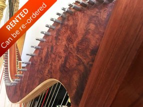 Bubinga Harp beautiful wood detail - Rented with option to buy. Can be re-ordered.