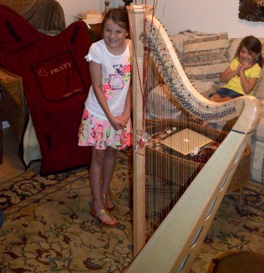 Young Girl with Her Harp Birthday Gift