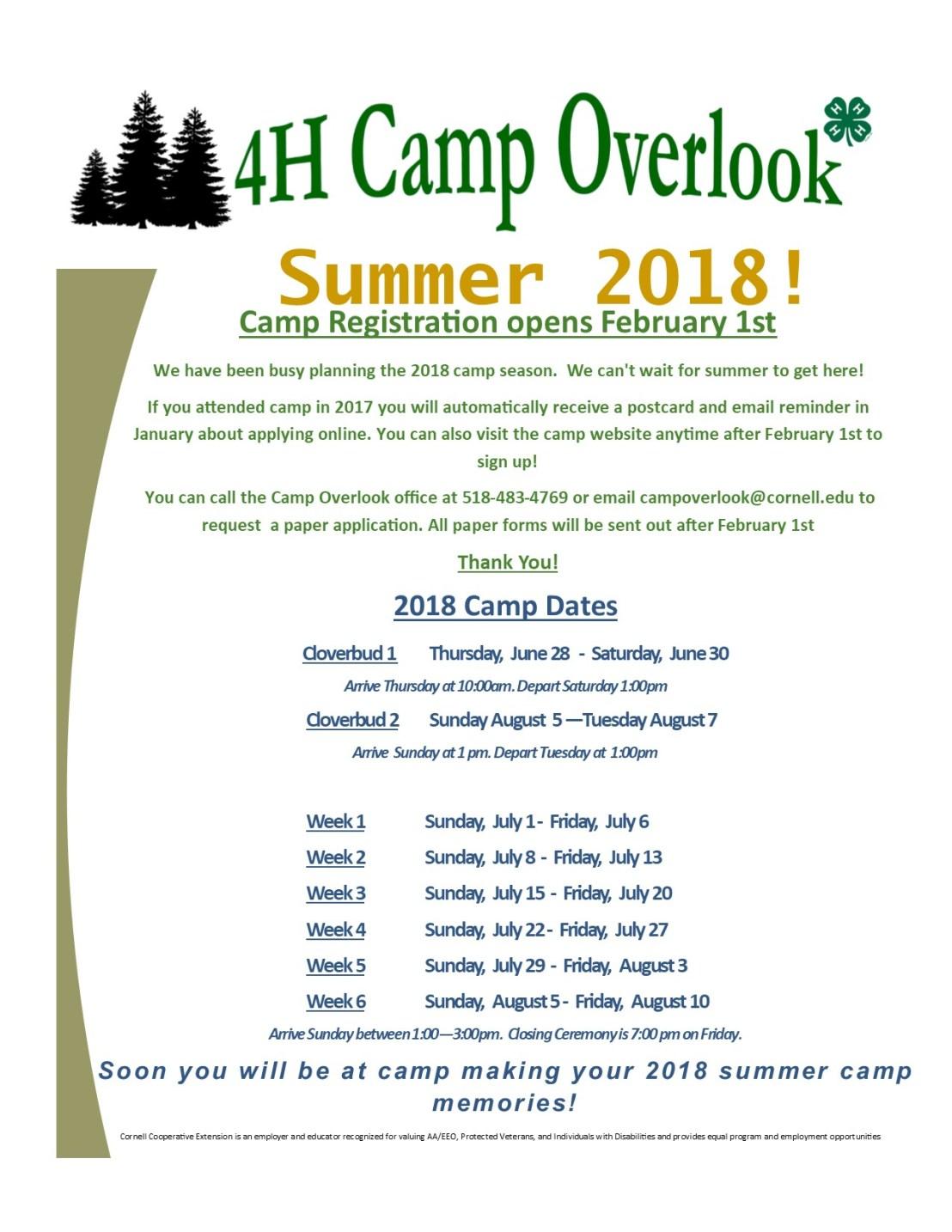 2018 Summer Camp Dates for Website