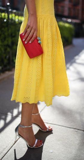 top-spring-fashion-trends-yellow-eyelet-j-crew-midi-dress-silver-metallic-heeled-sandals-red-clutch-tassel-earrings12-680x918@2x