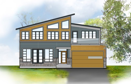 Conceptualized rendering of HardiePanel system in Boothbay Blue with aluminum expressed joints. HardiePlank siding in Tuscan Gold