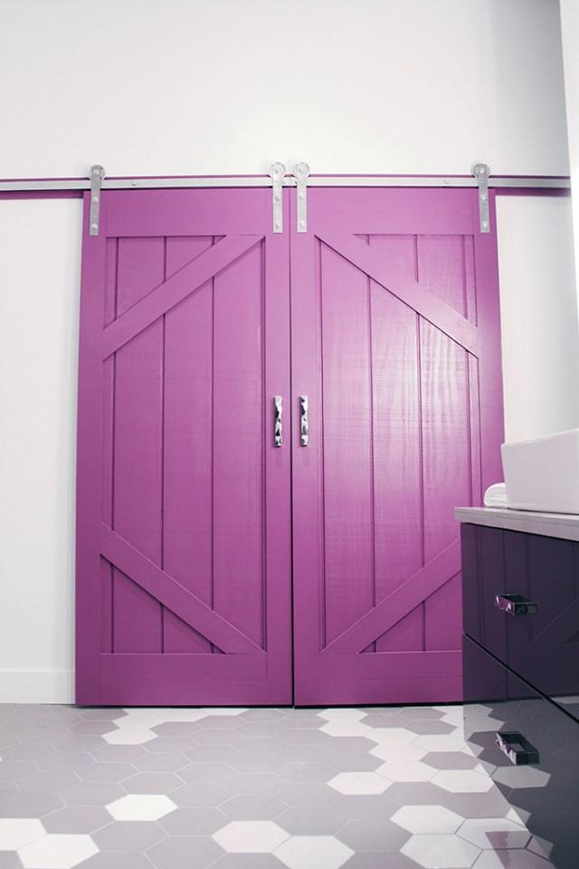 DIY sliding barn doors - painted in PARA Pixie Pop (PF-3) - Master Bath Retreat | The Dreamhouse Project