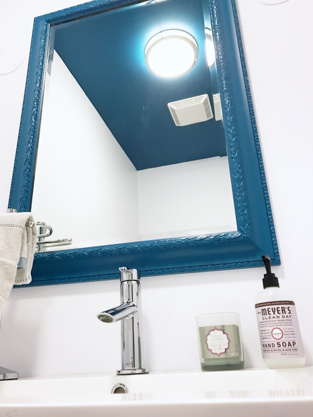 After: New LED flush mount fixture installed in the powder room