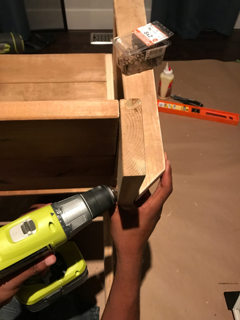 Countersink armrest holes on an angle