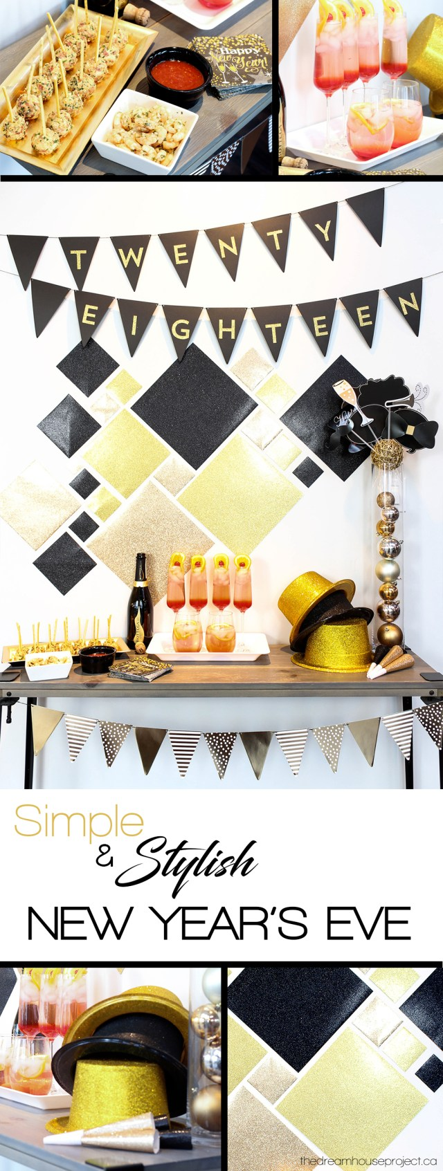 Simple Stylish New Year's Eve with black, gold & glitter decor   The Dreamhouse Project