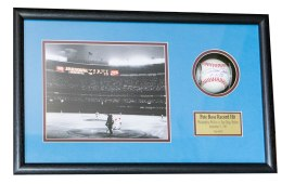Custom Framed Baseball Shadowbox with One Photo and Custom Nameplate