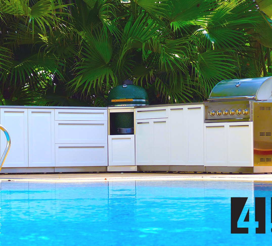 4 Life Outdoor Kitchen White full set by pool 1800