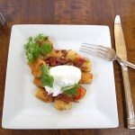 Pepper Bacon Poached Eggs with Tots