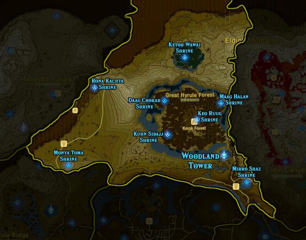 Woodland Region 1024x805 - The Legend Of Zelda Breath of The Wild, guida alla posizione di tutti i Santuari
