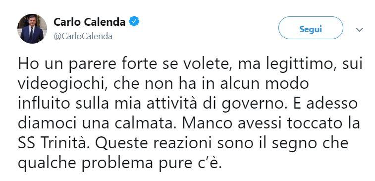 """twit calenda giochi 2 - L'ex Ministro Calenda: """"In casa mia i videogiochi non entrano"""""""
