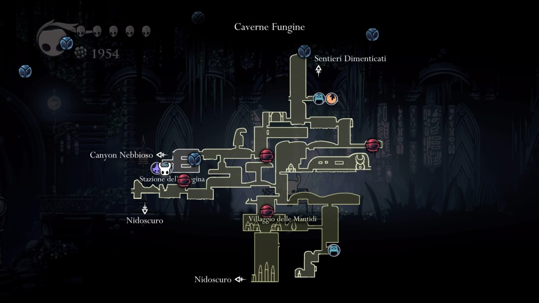 Hollow Knight Caverne Fungine mappa