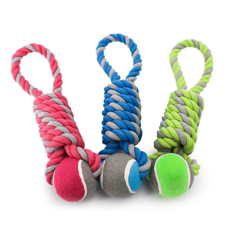 Alle Farben des Spieltaus mit Tennisball in der Größe L von Happy Pet