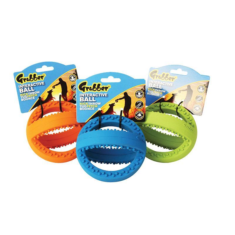Interaktiver Fußball Grubber von Happy Pet in den Maßen 12 cm x 12 cm x 12 cm in den Farben orange, blau und grün