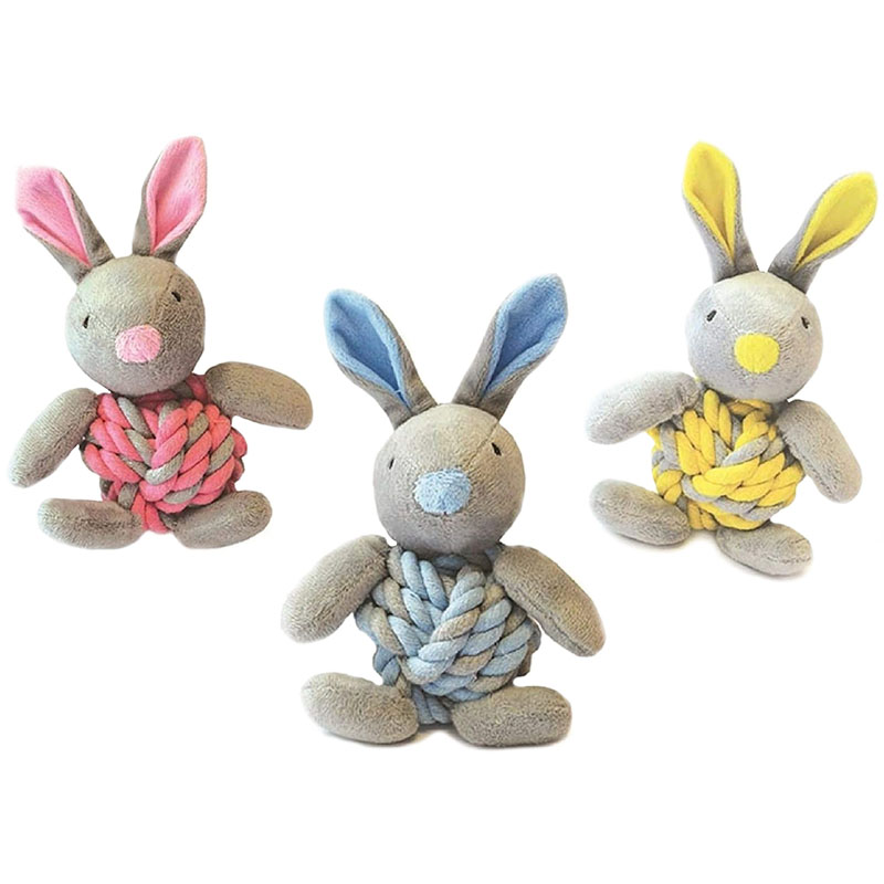 Ein blauer, gelber und pinker Little Rascals Hase von Happy Pet mit den Maßen 20 cm x 15 cm x 8 cm