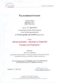 Fortbildungsveranstaltung Reisekrankheiten – Aktuelles zu Diagnostik, Therapie und Prophylaxe.