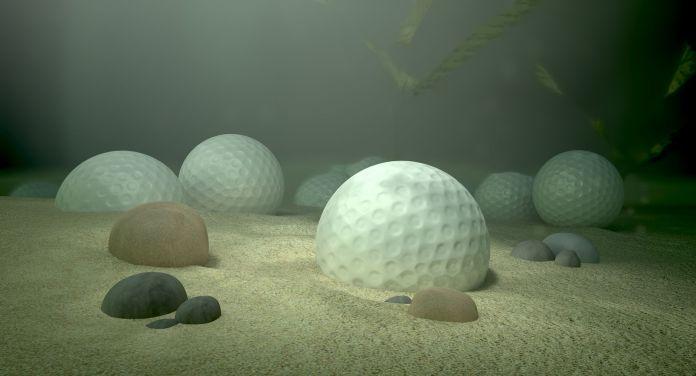 Unterwasser sind Golfbälle