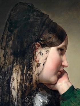 """Friedrich von Amerling (Austrian, 1803–87), """"Mädchen im Profil"""" (detail)"""