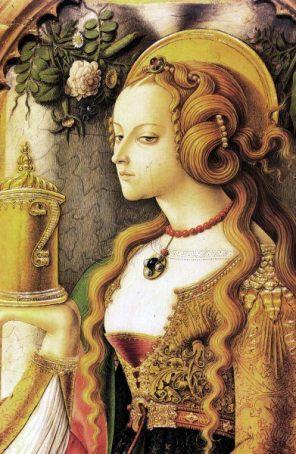 "Carlo Crivelli (Italian, ca. 1435-95), ""Santa Maria Maddalena"" (detail, 1474)"