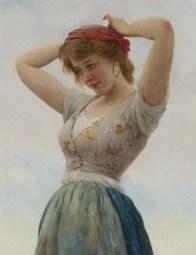 "Eugene de Blaas (Italian, 1843-1932), ""On the Beach"" (detail)"