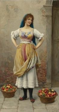 "Eugene de Blaas (Italian, 1843-1932), ""The Market Girl"""