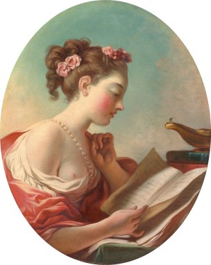 """Jean-Honoré Fragonard (French, 1732-1806), """"Young Woman Reading"""""""