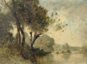 """Paul-Désiré Trouillebert (French, 1831-1900), """"Arbres au bord d'un fleuve"""""""