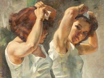 "Philippe de Rougemont (Swedish, 1891-1965), ""Ballerina framför spegel"" (""Dancer before a Mirror"", detail)"