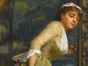 """Theodoros Ralli (Greek, 1852-1909), """"Eavesdropping"""" (detail, 1880)"""