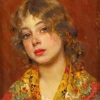 "Eugene de Blaas (Italian, 1843-1932), ""Gipsy Girl""."