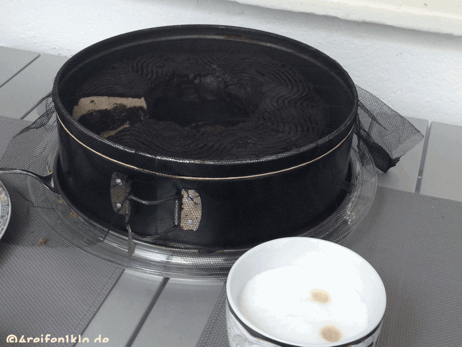 Der Kuchen ist vor Insekten geschützt