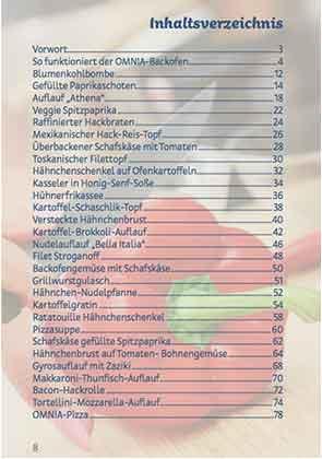 Inhaltsverzeichnis Kochbuch