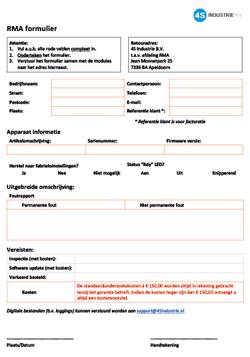 Voorbeeld RMA formulier