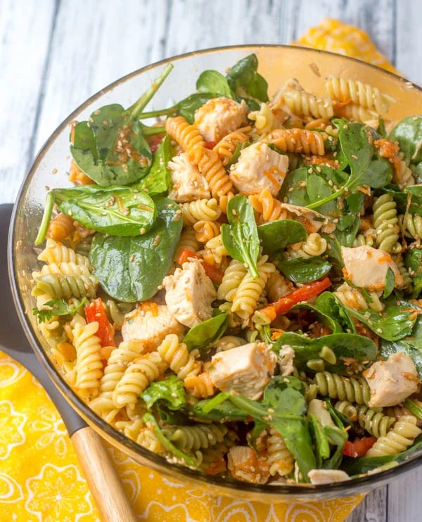 Asian Style Chicken Spinach Pasta Salad