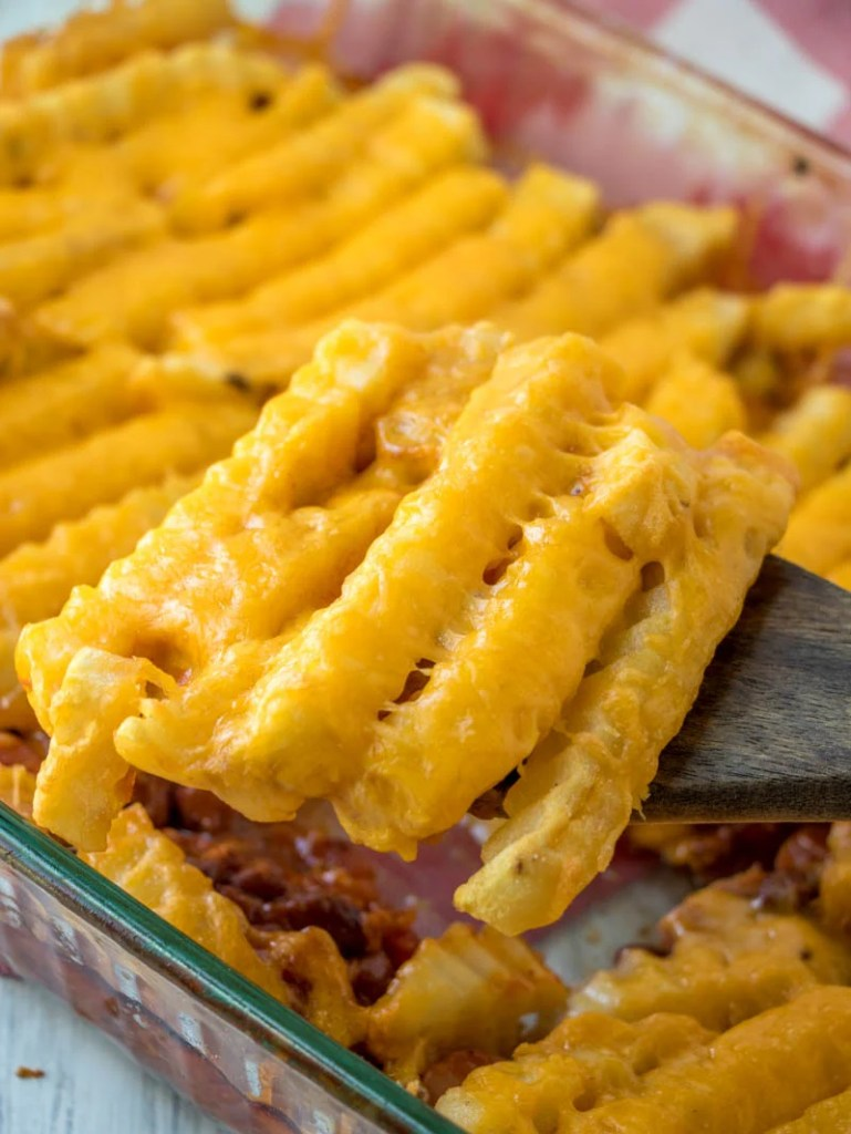 Chili Dog Casserole with Cheese Fries