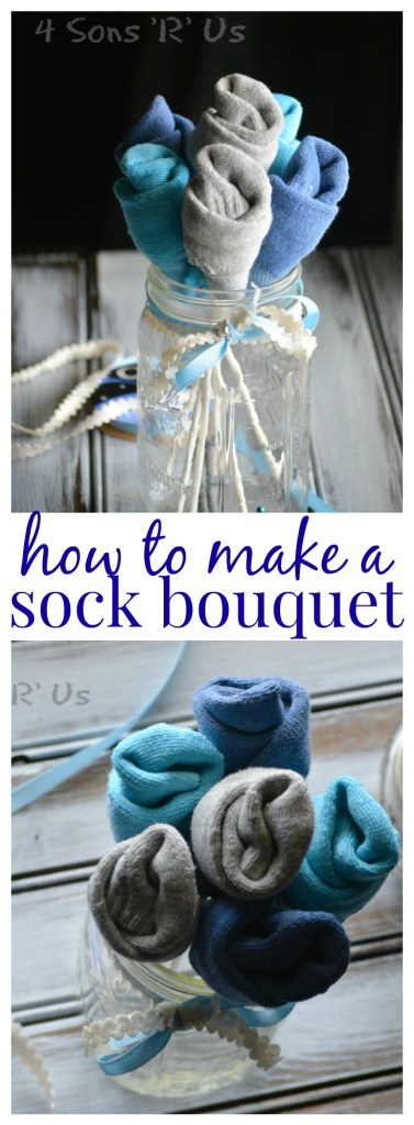 sock bouquet collage