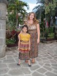Anna and Maria dressed up  in full Mayan dress.