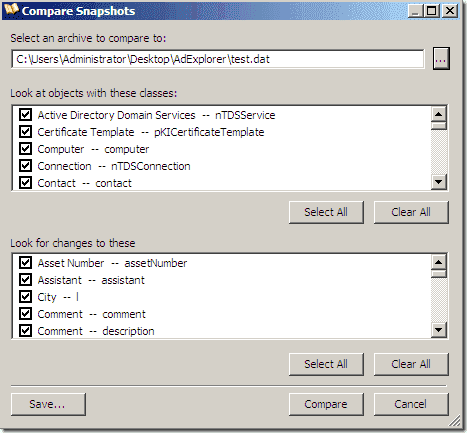 Active Directory Explorer - Compare Snapshots