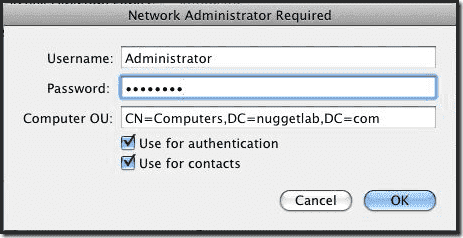 Mac OS X Active Directory Join - Administrator and Password