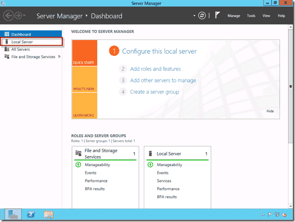 Disable Internet Explorer Enhanced Security Configuration - Server Manager Dashboard