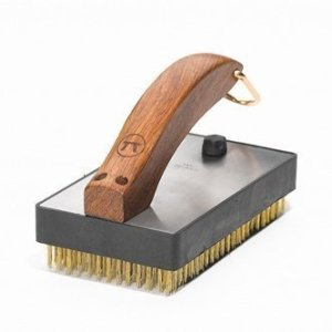 Large brass bristle grill brush short
