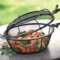 Jumbo Mesh Grill Basket in use