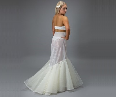 Side and back view of a bride in a white petticoat