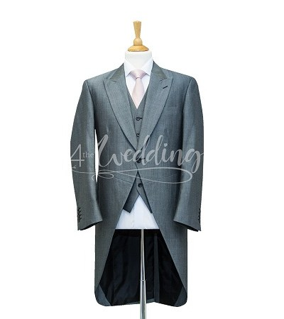 Silver full suit tailcoat with a light pink tie on a manikin wearing a white shirt