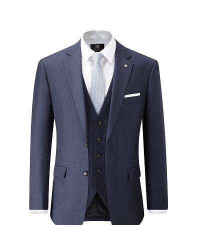 Indigo full suit with a blue patterned tie and white shirt 2