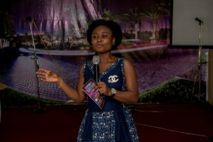 Aramide speaking about our book at the launch