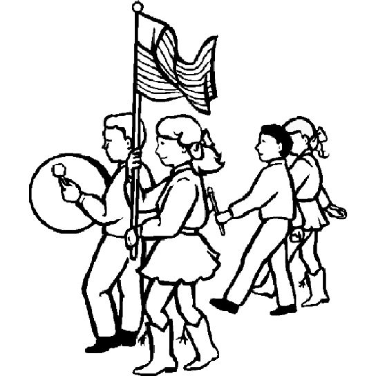 Fourth of July Parade Coloring Page